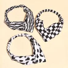 3pcs Checkered Headband