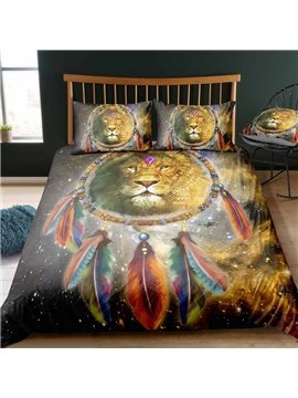 Indian Lion And Dream Catcher Colorfast Wear-resistant Digital Printing Polyester 3D 3-Piece Bedding Sets/Duvet Covers