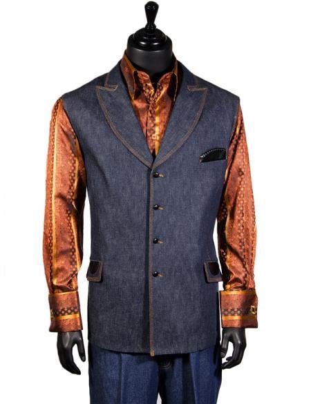 Men's Double Breasted Blue Denim 2 Pc Lapel Vest Pants Walking Suit