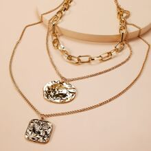 Wafer Pendant MultiLayer Necklace