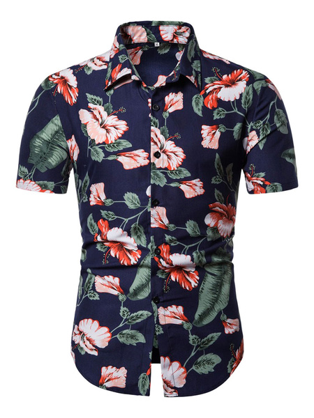 Milanoo Men Beach Shirt Navy Blue Floral Print Short Sleeve Shirt