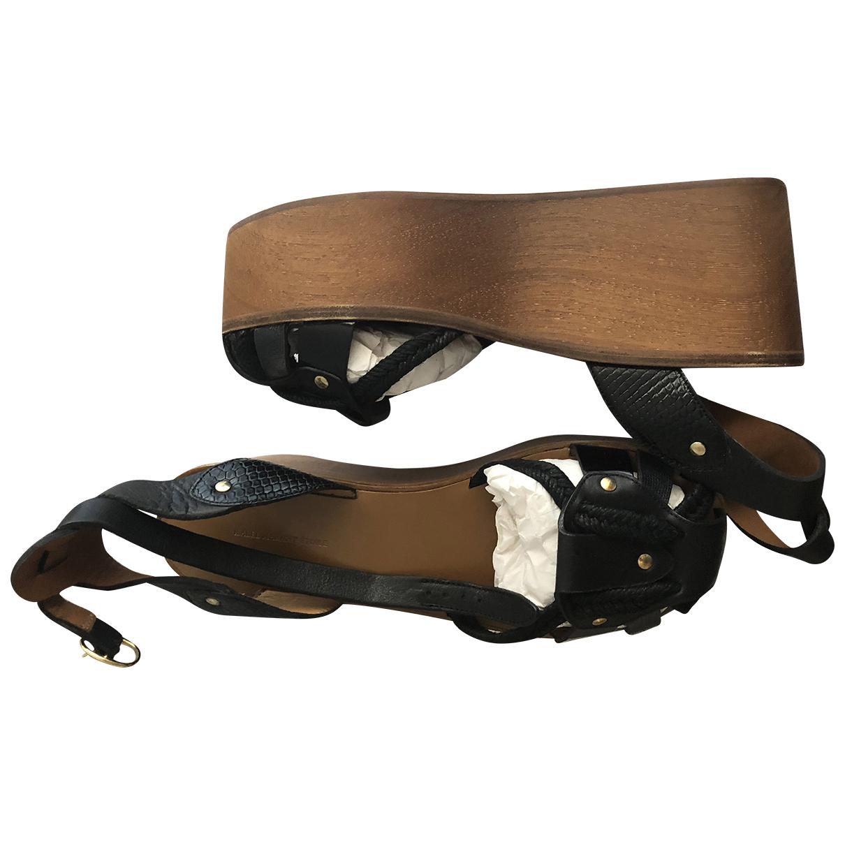 Isabel Marant N Black Leather Sandals for Women 8 UK