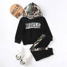 Toddler Boys Letter Graphic Hoodie & Camo Sweatpants