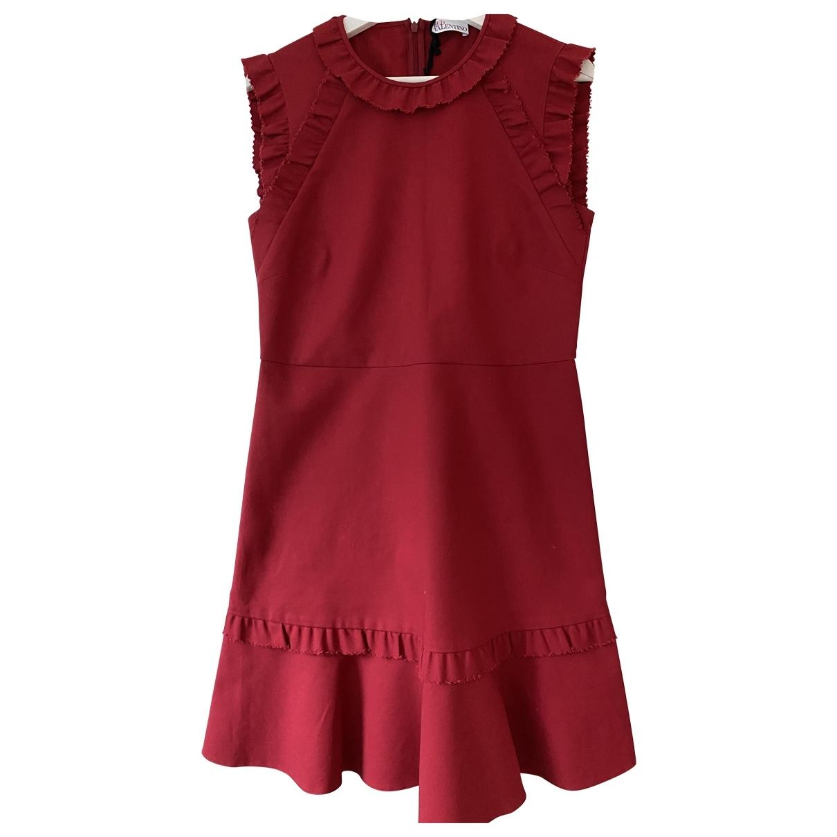 Red Valentino Garavani \N Kleid in  Rot Baumwolle - Elasthan