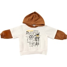 Sweatshirt mit Buchstaben Grafik, Kontrast und Kapuze