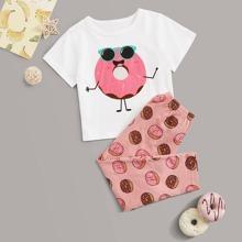 Conjunto de pijama de niñitas con dibujos animados