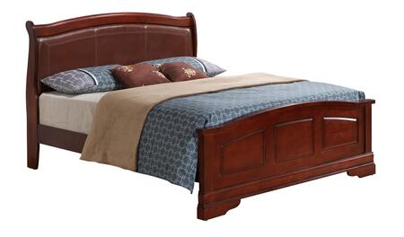 Louis Phillipe Collection G3100C-QB2 Queen Size Bed with Wood Veneer  Sleigh Backboard  Leather Headboard  Bracket Legs and Molding Details  in