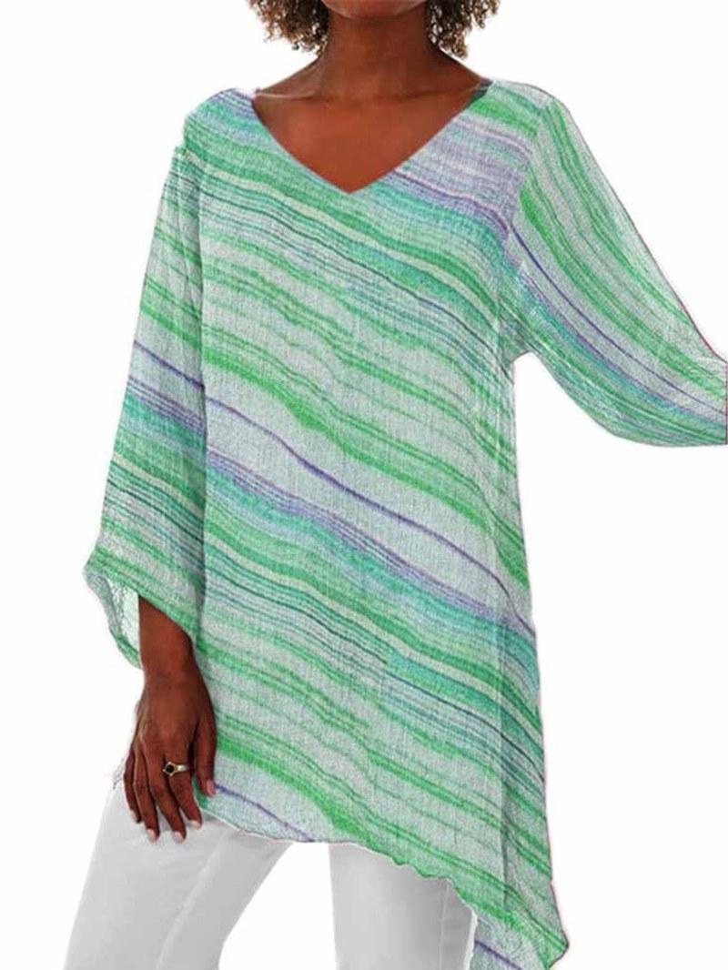 Ericdress Stripe Asymmetric V-Neck Mid-Length Nine Points Sleeve Blouse