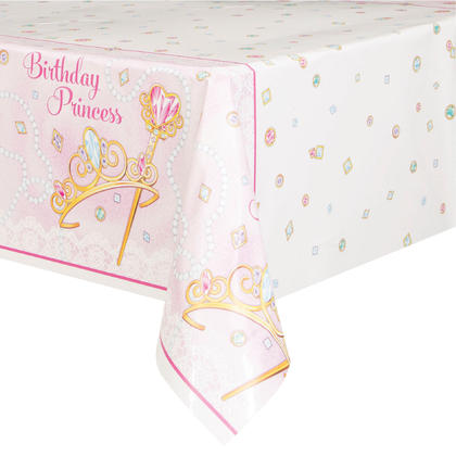Pink Princess Rectangular Plastic Table Cover, 54