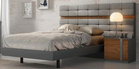 Palma PALMABEDTS 67 Twin Sized Bed with Nogal Natural Wood Veneer Construction  Led Lighting and Fabric Upholstery in