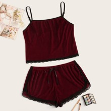Plus Lace Trim Velvet Pajama Set