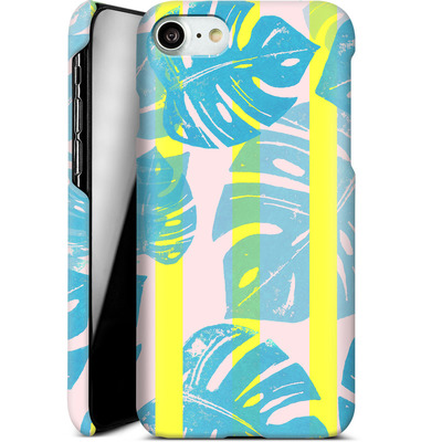 Apple iPhone 8 Smartphone Huelle - Linocut Monstera Neon von Bianca Green