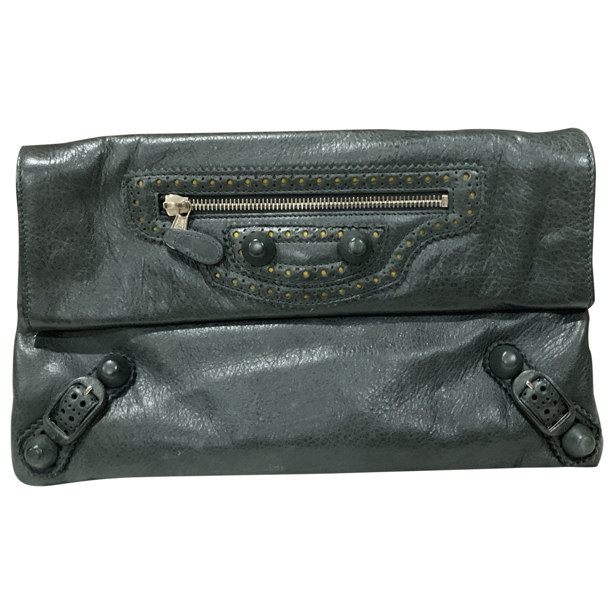Balenciaga Envelop Clutch in  Gruen Leder