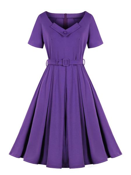 Milanoo Vestido retro Botones de capas purpuras de los años 1950 Vestido a media pierna con cuello en V y faja con cuello en V Vestido de vuelo