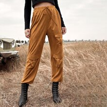 Pocket Front Drawstring Waist Cargo Pants