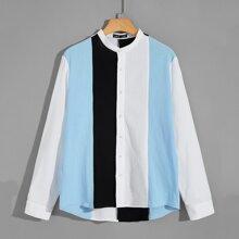 Men Button Front Asymmetrical Hem Colorblock Shirt