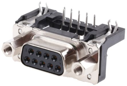 HARTING D-Sub Standard Series, 9 Way Right Angle Through Hole PCB D-sub Connector Socket, 2.54mm Pitch, with 4-40 UNC