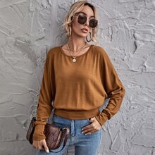 Batwing Sleeve Solid Pullover