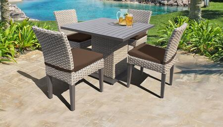 Florence Collection FLORENCE-SQUARE-KIT-4ADCC-COCOA Patio Dining Set with 1 Table   4 Side Chairs - Grey and Cocoa