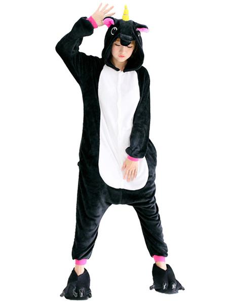 Milanoo Kigurumi Pajamas Dinosaur Black Halloween Flannel Unisex Adults Winter Sleepwear With Footwear Animal Halloween Costume
