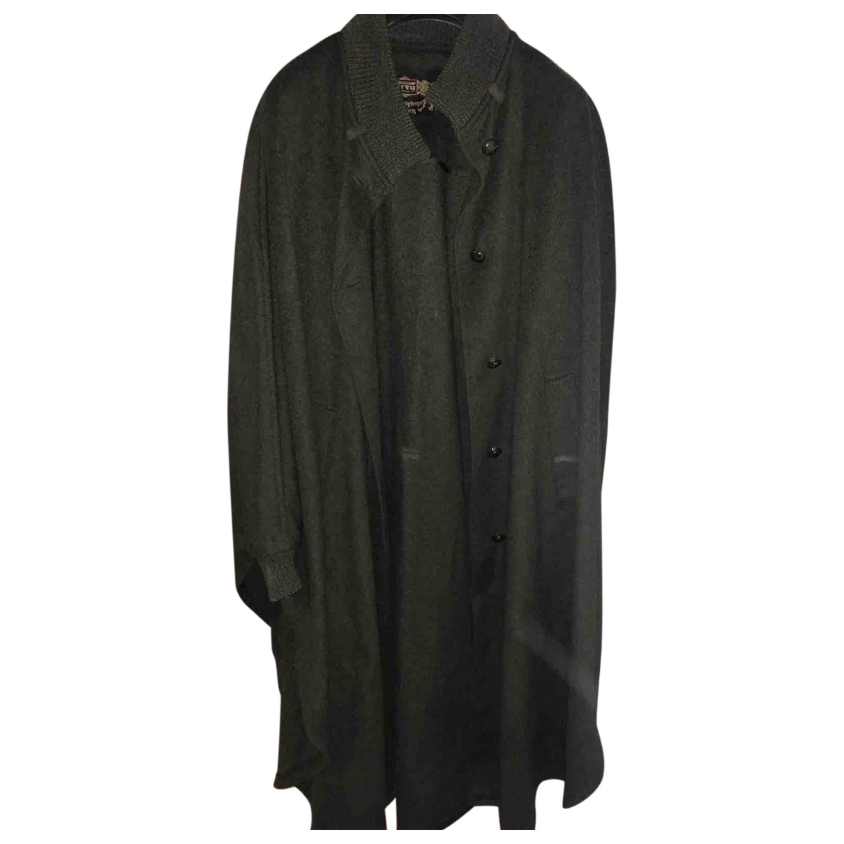 Non Signé / Unsigned Oversize Green Wool coat for Women One Size International