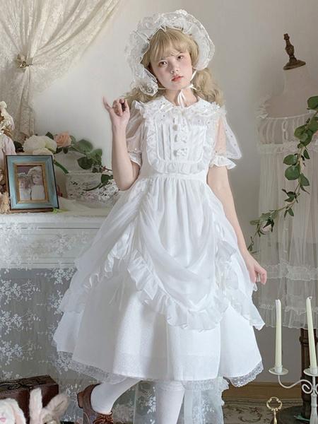 Milanoo Sweet Lolita JSK Dress White Ruffles Lolita Jumper Skirts