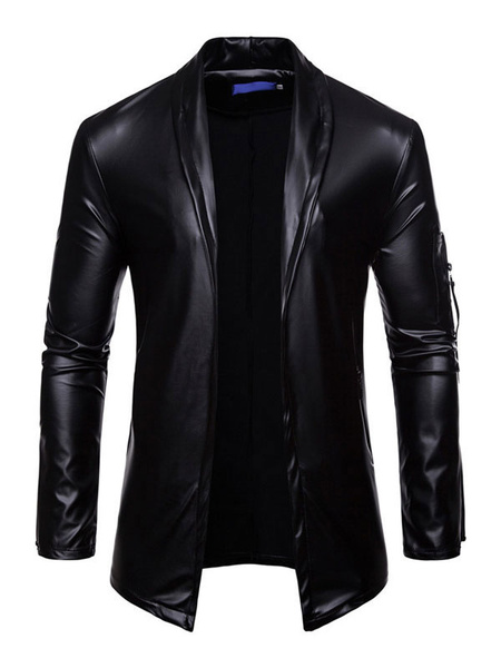 Milanoo Men Casual Jacket Shawl Lapel Zipper Decor Slim Fit Long Sleeve PU Jacket