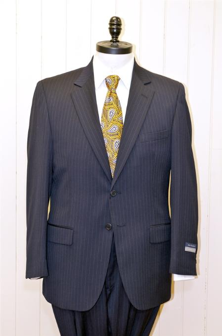 Mens 2 Button Single Breasted Wool Suit Navy Stripe