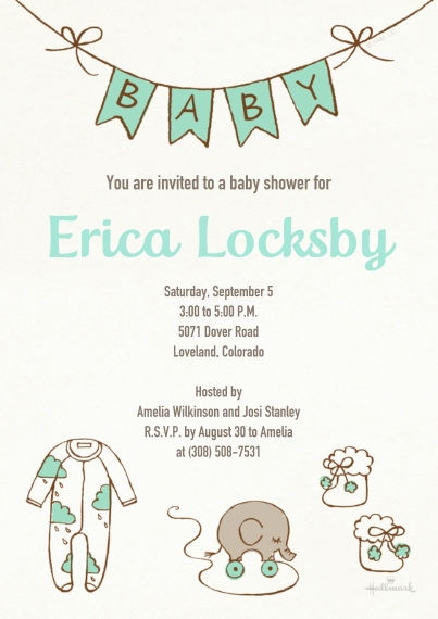 Baby Shower Invitations 5x7 Cards, Premium Cardstock 120lb with Rounded Corners, Card & Stationery -Charming Linework Shower - Teal