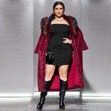Langer Mantel mit Kontrast Kragen und Kunstpelz