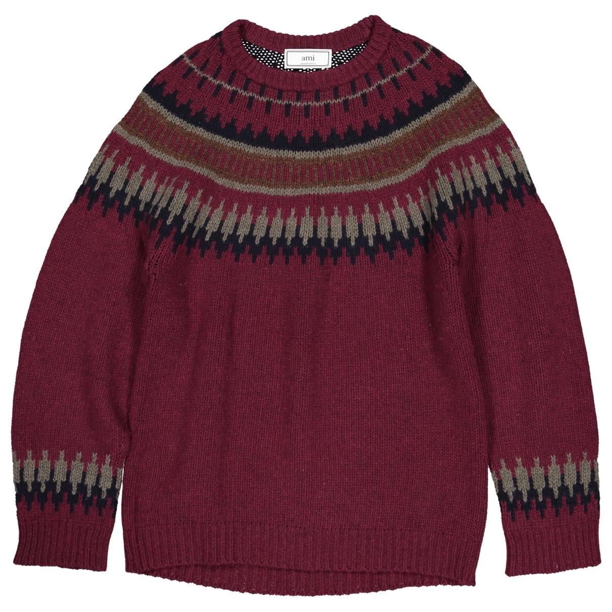 Ami \N Pullover.Westen.Sweatshirts  in  Bordeauxrot Wolle
