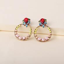 Rhinestone Round Earrings