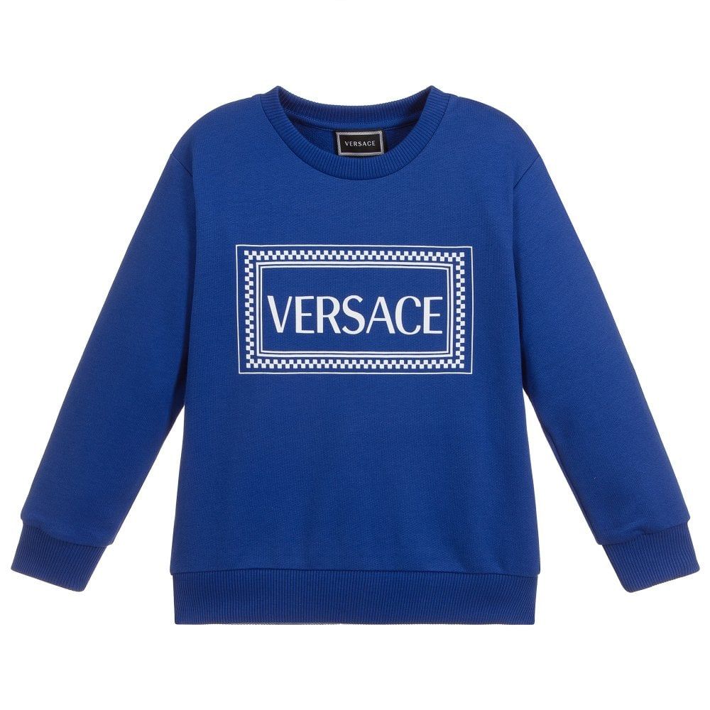 Versace Young Versace Logo Print Sweatshirt Colour: BLUE, Size: 12 YEARS
