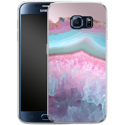 Samsung Galaxy S6 Silikon Handyhuelle - Serenity Rose Quartz Agate von Emanuela Carratoni