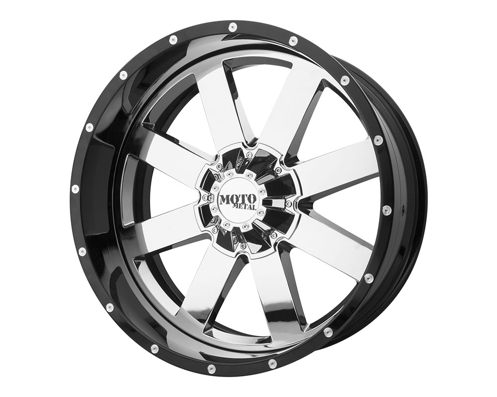 Moto Metal MO200-20105018NCB MO200 Wheel 20x10 5x5x127 -18mm Chrome Center Gloss Black Milled Lip