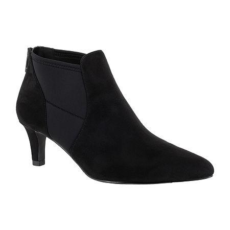 Easy Street Womens Saint Zip Pointed Toe Booties, 10 Wide, Black