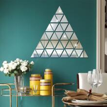 100 piezas pegatina de pared de espejo triangulo