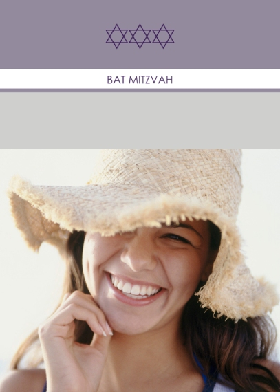Bar & Bat Mitzvah Mail-for-Me Premium 5x7 Folded Card , Card & Stationery -Purple Standout Stars