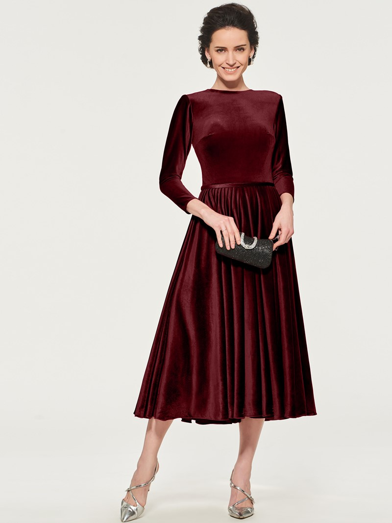 Ericdress Velvet Tea Length Mother of the Bride Dress with Sleeve