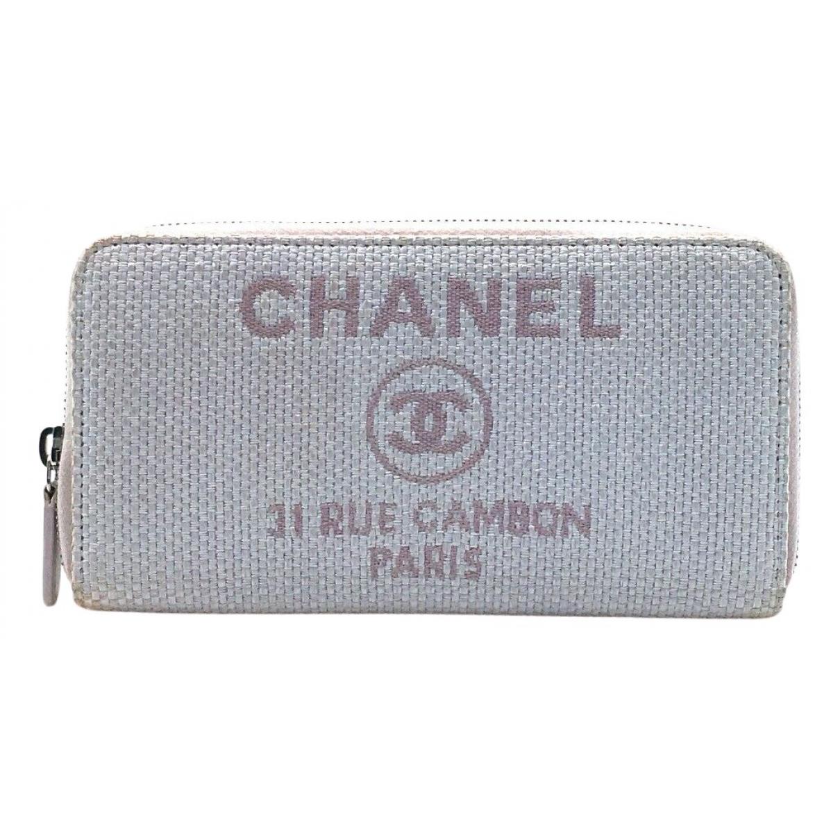 Chanel - Portefeuille   pour femme en toile - gris