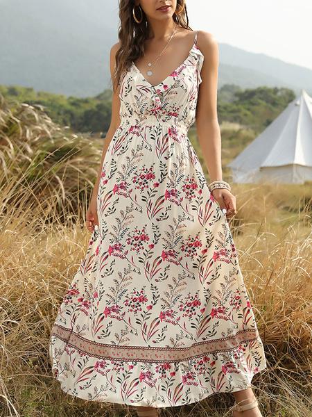 Milanoo Boho Dress V Neck Floral Print Backless Beach Dress