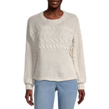 Rewind-Juniors Womens Crew Neck Long Sleeve Pullover Sweater, X-large , White