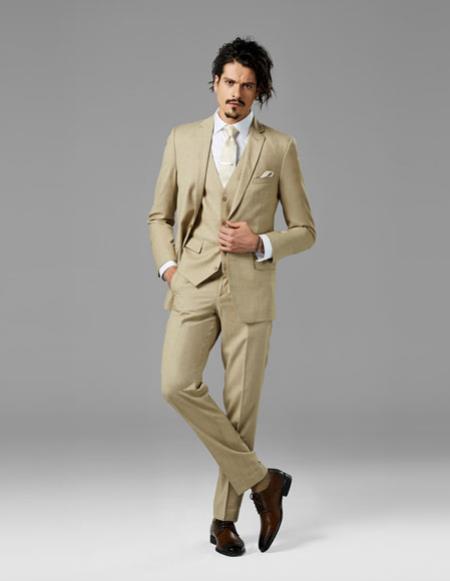 Mens Tan best Suit buy one get one suits free sharkskin Suit