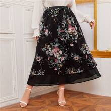 Plus Floral Print Tie Front Mesh Overlay Skirt