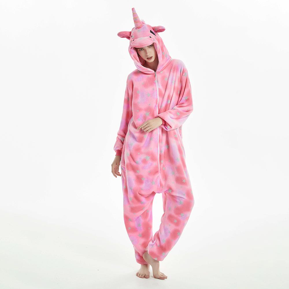 Nouveau Hiver Kigurumi Femmes Adulte Mignon de Bande Dessinee Onesies Animal Pyjamas Point Colore Etoile Motif Nuisette Vetements De Nuit