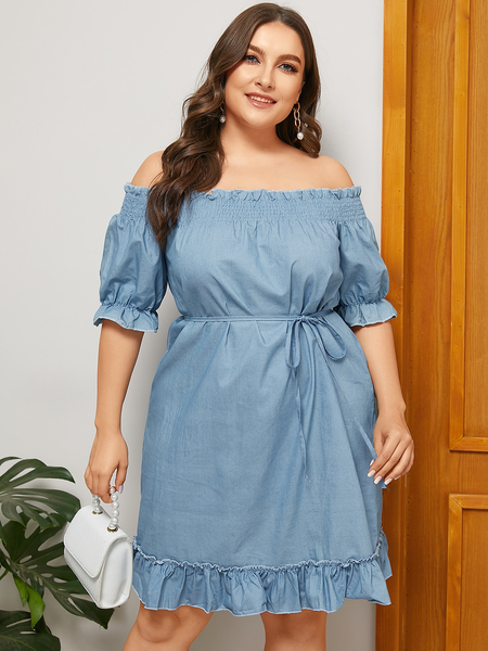 Yoins Plus Size Blue Belt Design Off The Shoulder Dress