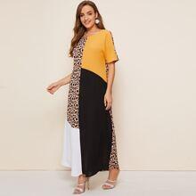 Colorblock Leopard Panel Maxi Dress