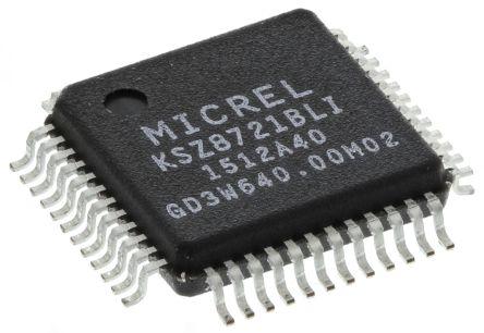 Microchip KSZ8721BLI 10/100BASE-TX/FX Ethernet Transceiver, 2.5 V, 3.3 V, 48-Pin LQFP