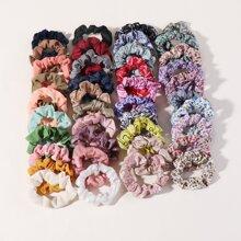 40pcs Ditsy Floral Pattern Scrunchie