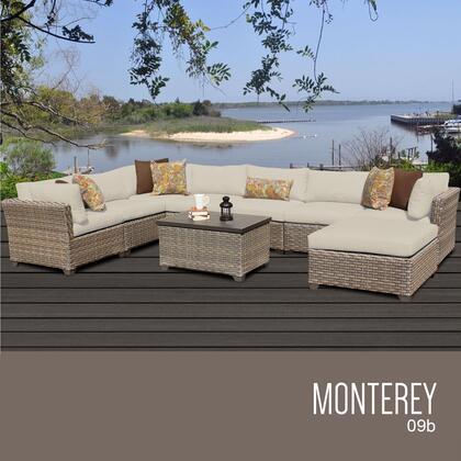 MONTEREY-09b-BEIGE Monterey 9 Piece Outdoor Wicker Patio Furniture Set 09b with 2 Covers: Beige and